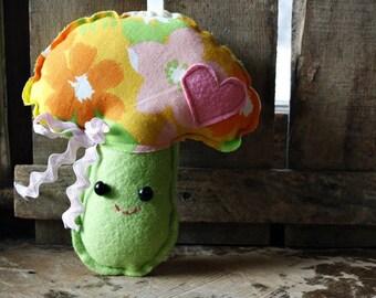 mushroom, mushroom plush, stuffed mushroom, stuffed toadstool