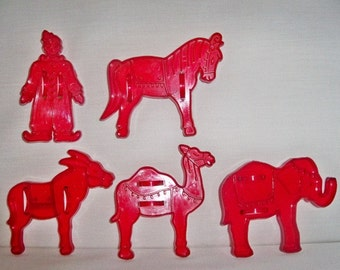 Vintage Domar Circus Series Cookie Cutters - 1950s Set of 5 Detailed Figures - Clown - Donkey - Horse - Camel - Elephant - Mint