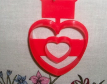 """Open Heart Framed In Heart Cookie Cutter - Red Hard Plastic 1994 Wilton Cutter - Valentine Theme - 2 1/2 """" By 2 1/2 """" Of Love - Mint"""