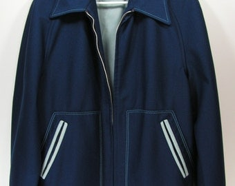 retro mens jacket medium blue polyester metal zipper disco 1970s fashion sears