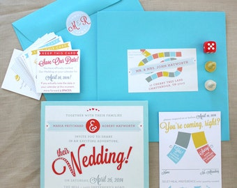 Get Me to the Wedding - Playable Board Game Wedding Invitation - SAMPLE ONLY (Price is not full order per unit price, see description)