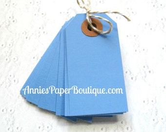 25 Small Parcel Tags - Blue - Hang Tag, Shipping, Gift