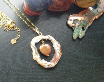 Agate Geode Slice Framed Gemstone Heart Necklace-Ocean Jasper Heart, Blonde, Orange, Deep Red, White on Gold