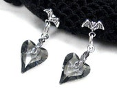 Bat Earrings Nature Jewelry Grey Hearts Swarovski Crystal Sterling Silver Posts