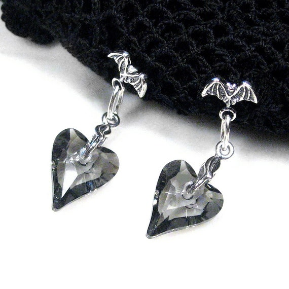Bat Earrings Nature Jewelry Grey Hearts Swarovski Crystal Sterling Silver Posts