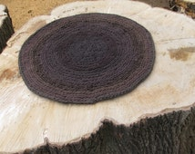 OOAK Upcycled Crochet Round Rug. 2 Foot T Shirt Rug. Shades of Brown Rug, Made to Order