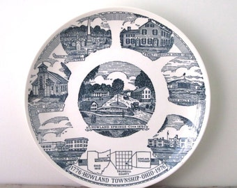 Blue and White Vintage China Travel Souvenir Plate for Ohio Bicentennial 1976 Firsdt Edition