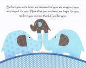 Kids Wall Art, Baby Boy Nursery, Children's Art, Elephant, Gray, Blue, Quote, Before you were born, 8x10 Art Print