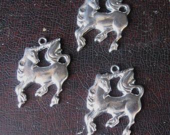 Unicorn Charms, 3 Silver Tone Unicorn Charms, 18 x 20 mm Top Loop Nice Weight made USA