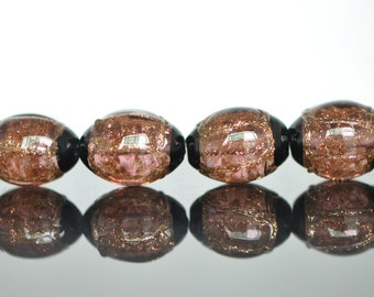 Lampwork Oval Chunky beads Gold Amethyst Black 17mm -(LL29-5)
