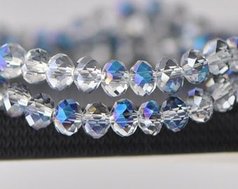 Faceted Rondelle Glass Crystal Beads 6x8mm  Sparkle Blue- 16'' strand /BZ0819