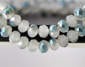 Faceted Glass Crystal Rondelles White Green 6x8mm -BZ0827/ 70pcs