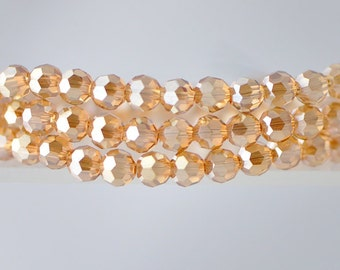 95pcs Round Faceted Crystal Glass Beads 6mm Champagne- (32QZ06-26)