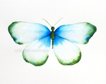 emerald turquoise butterfly archival print of original watercolor painting