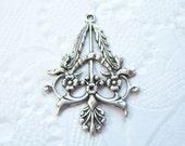 Antique silver  plated elegant ornate connector chandelier drop - DR94