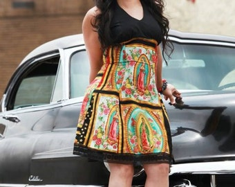 Custom Plus Size  Dress Your Measurements  / / Senoritas / Day of the Dead Rockabilly / Skulls and Roses / Guadalupe Panels