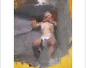 PURE Original Baby Boy Figurative Oil Painting/ Grey Yellow/ Maternity Infant Toys Boutique Wall Art Decoration/ Midwife Daycare Office Room