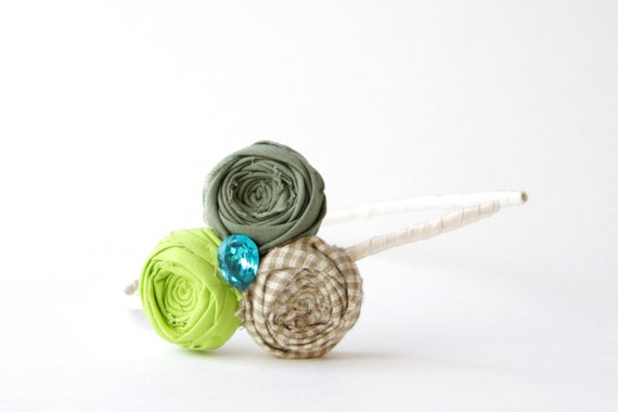 SALE Rosette Headband Greens and Gingham Cotton Trio Flower Hair Band Ribbon Wrapped with Vintage Blue Gem