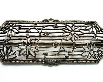 Antique Victorian Sterling Silver Floral Filigree Brooch//Vintage Jewelry