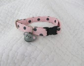 Cat Collar  Pink & Grey Polka Dot with mouse bell Breakaway Collar Custom Made
