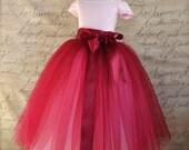 Burgundy Flower Girl tutu.  Full length sewn tutu. Also in silver and black tulle skirt for girls.
