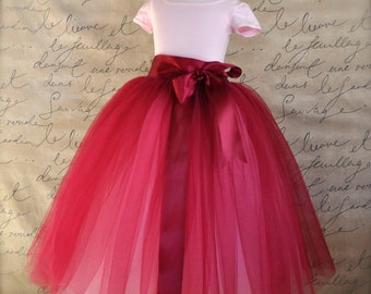Burgundy Flower Girl tutu.  Full length sewn tutu. Also in silver and black tulle skirt for girls.