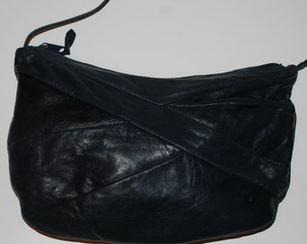 Vintage 80s Leather Purse Navy Blue Buttery Soft Med