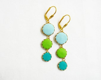 Teal Green Statement Earrings, Polymer Clay Earrings, Dangle Circle Earrings