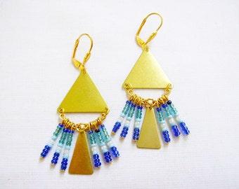 Summer Party Statement Earrings, Boho Geometric Earrings, Chandelier Statement Earrings
