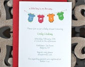 Baby Shower Invitations, Baby Boy Invitation, Onesies, Baby Clothesline, Baby Shower Invites, Gender Neutral, Baby Announcement, Red, Blue