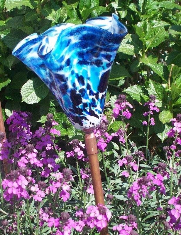 Hand Blown Glass Garden Art Sculpture Outdoor Decor By