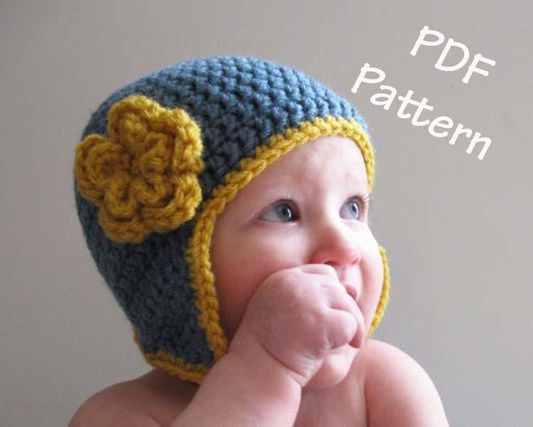 Crochet Earflap Hat Patterns For Beginners : Crochet hat pattern easy earflap hat with flower pattern hat