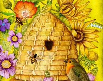 Honey Bee Cottage - A Fine Art Greeting Card
