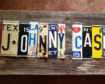 JOHNNY CASH upcycled recycled license plate art sign man in black heart ring of fire Folsom prison tomboyART tomboy OOAK