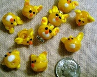 10 Yellow glass lampwork handmade Floppy Ear Puppy Dog Head shaped beads GBS002