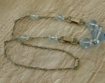 Vintage necklace with pale blue glass beads and silvertone chain