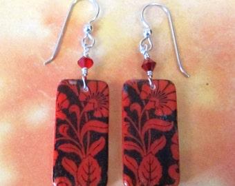 Valentines Earrings - Red Flower Earrings - Red Earrings - Flower Earrings - Domino Earrings