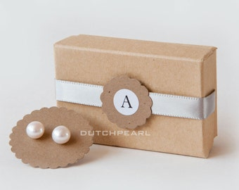 7 sets - PERSONALIZED BRIDESMAID GIFTS - Genuine pearl earrings in monogram gift box - sterling silver - handmade wedding favors rustic