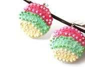 Colorful pastel Earrings pink green cream Sequin