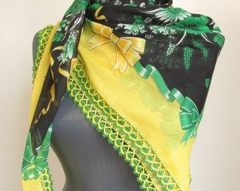 square scarf - turkish scarves - Oya Scarf - scarf fashion - floral scarf -scarf accessories - scarf sale