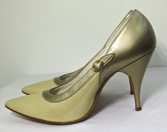 Sexy Vintage 1950's Patent Leather DE LISO DEBS Stiletto Pumps Pin Up High Heels  6 1/2 A