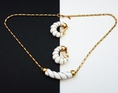 Delicate Monet 1960s Choker Necklace Earrings in White and Gold Summer Jewelry