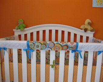 Crib Teething Guards for Convertible Cribs - 3pc Set  - California Dreamin' fabric - Orange, Blue, Green, and Yellow swirls