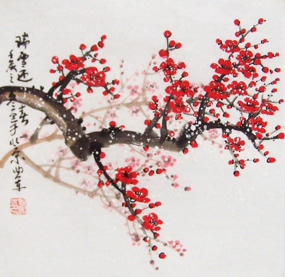 Cherry blossom paintings original chinese painting oriental for Cherry blossom mural works
