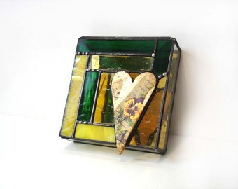 Stained glass jewelry storage box, keepsake trinket box, pansy flowers for Mom, green yellow, gift for her