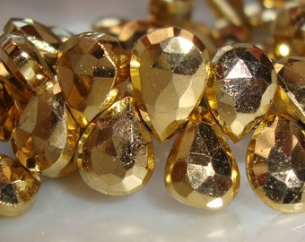 6 pcs, 10-11mm AAA Lovely Sparkling Gold Pyrite Micro Faceted Pear Briolette