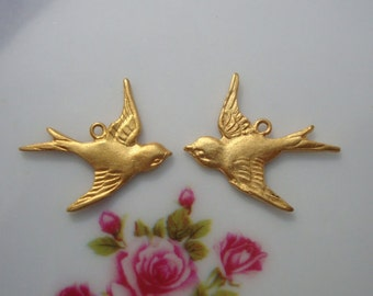 8 pcs, 4 left 4 right,  24K Gold Vermeil Sterling Silver Happy Sparrow, Swallow Charm,fit 20-22 ga wire