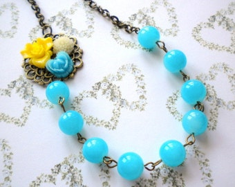 Turquoise Necklace Flower Necklace Turquoise Statement Necklace Bridesmaid Necklace Turquoise Jewelry Yellow Necklace Summer Wedding Jewelry