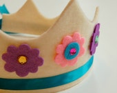 eco friendly edin floral felt crown with adjustable ribbon tie.  your choice of crown, flower, and ribbon colors.  party, play, pretend.