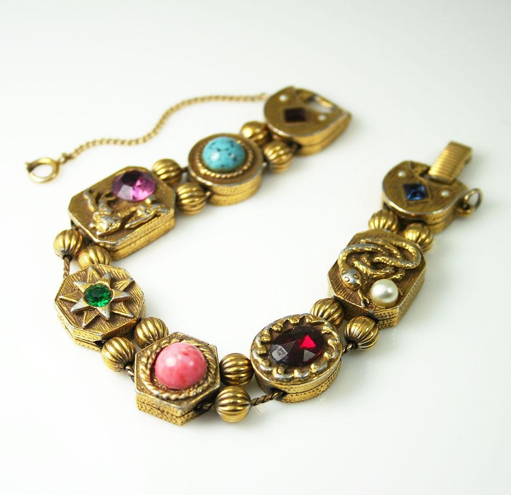 Slide Charms For Bracelets: Vintage Goldette New York Victorian Revival Charm Slide